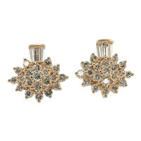 Diamond Earrings 14K Gold Cluster 2.48 TDW