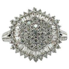Natural Diamond Ring 14K White Gold Cluster Cocktail 2.31 TDW