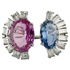 Blue Pink Sapphire Diamond Ring 18K White Gold Half Moon Setting
