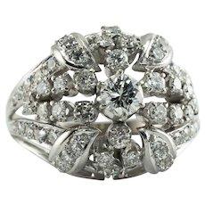 Diamond Ring 14K White Gold Cluster 1.18 TDW