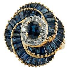 Levian Diamond Sapphire Ring 18K Gold Vintage