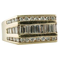Mens Diamond Ring 14K Gold Band Baguettes Round 1.49cts TDW