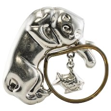 Laton Cat Fish Pendant Brooch Sterling Silver