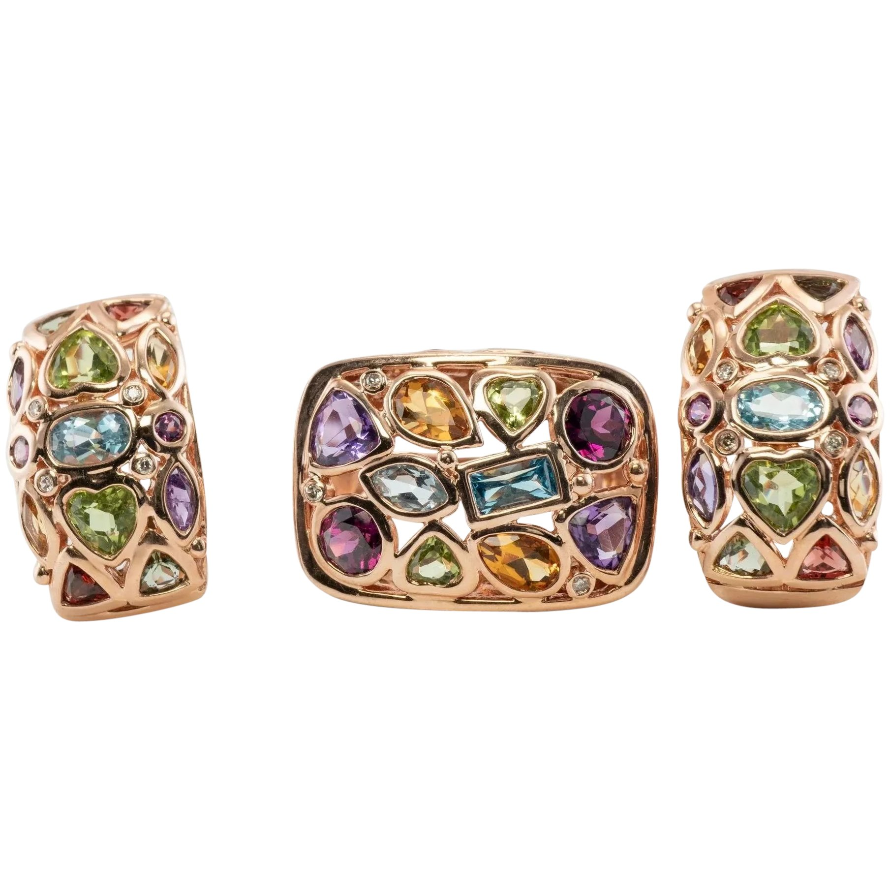Details about  /Multi-Topaz Earrings Ruby Citrine Amethyst Peridot Jewelry 14K Rose Gold Plated