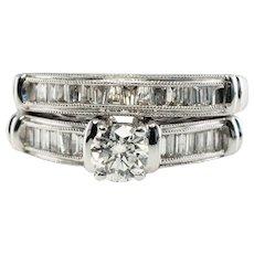 1.05ct Diamond Engagement Ring Band Set OTC 14K White Gold