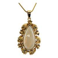Vintage Opal Pendant 14K Gold Floral Leaves Tear Drop