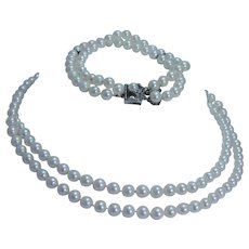 "Vintage Mikimoto 5.5x6mm Cultured Pearls Doubled 15"" Necklace Bracelet Set Sterling Clasp"