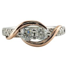 Diamond Ring 14K White Rose Gold .75 ct Band Ever Us Wedding or Engagement