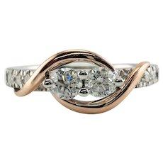 Diamond Ring 14K White Rose Gold .75 ct Band Ever Us Wedding or Engagement
