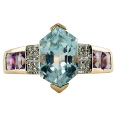 Natural Diamond Amethyst Aquamarine Ring 14K Gold