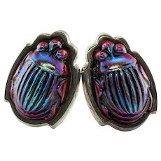 Tiffany and Co Scarab Earrings Sterling Silver 18K Gold Posts Favrile Purple Red