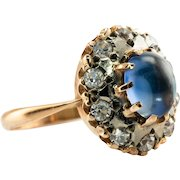 Russian Sapphire Ring CZ 14K Rose Gold USSR Soviet Russia