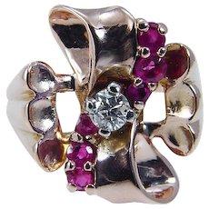 Vintage 14K Rose Pink Gold Diamond Ruby Rubies Retro Ring