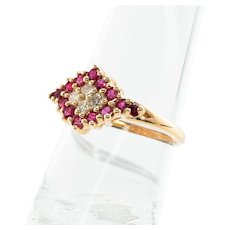 Vintage 14K Yellow Gold Ruby Rubies Diamond Diamonds Ring Old Jewelry