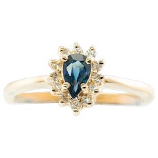 Estate 14K Yellow Gold Sapphire Diamonds Ring Jewelry Gifts