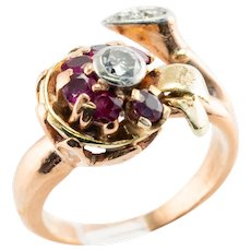 Ruby Diamond Flower Leaf  Berry Ring 14K Rose Pink Green Gold