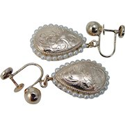 Vintage 14K Yellow Gold Etched Pearls Screw Back Earrings for Non pierced Ears