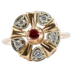 Diamond Ruby Ring 14K Rose Gold Floral Vintage Estate