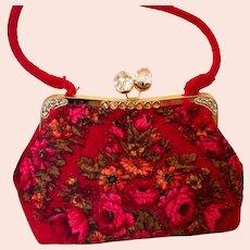 Boiled Felted Russian Red Pavlovo Posad Handbag Purse Bag Satchel Unique OOAK