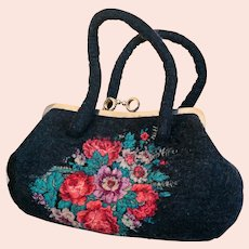 Boiled Felted Pavlovo Posad Handbag Purse Multicolor Wool Satchel