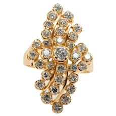 Genuine Diamond Ring 20K Gold Cluster