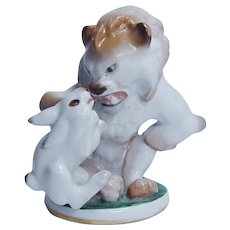 Vintage c.1950s Russian USSR Lomonosov LFZ Lion and Hare Rabbit Bunny Figurine