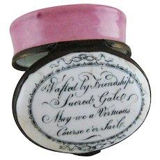 Battersea Bilston English Enamel Patch Box - Friendship Love - c 1780