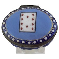 18th c. Battersea Bilston Enamel Patch Box - Playing Card  10 Diamonds