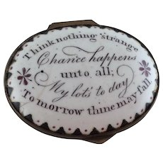 Battersea Bilston Enamel Patch Box - Chance Happens - c 1780