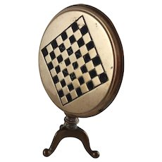Victorian Miniature Brass Tilt Top Gaming Table - Candle Reflector