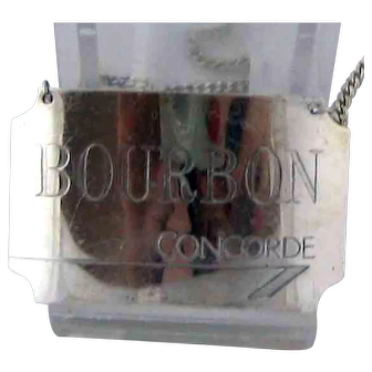 British Airways Concorde BOURBON Bottle Label Tag Sterling Silver 1986