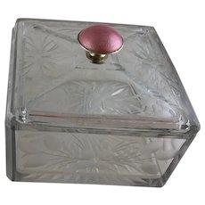 Etched Crystal Silver Enamel Box - c 1930