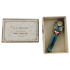 Figural Silver Enamel King Tut Tomb Mummy Mechanical Propelling Pencil Egyptian Revival