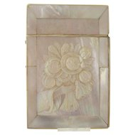 Victorian Carved Mother of Pearl Calling Card Case - Flowers