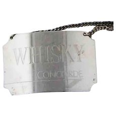 British Airways Concorde WHISKY Bottle Label Tag Sterling Silver 1986