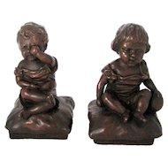 Antique KBW Rain & Sunshine Children Bronze Clad Bookends