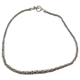 Vintage Byzantine Sterling Silver Chain Necklace by BA