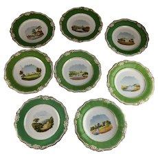 Set 8 Old Paris Plates 2 Bowls Scenic Landscape