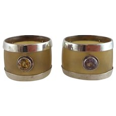 Pair Scottish Silver Citrine Amethyst Horn Napkin Rings - Edinburgh 1912