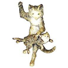 Antique Vienna Bronze Mother Cat Spanking Kitten