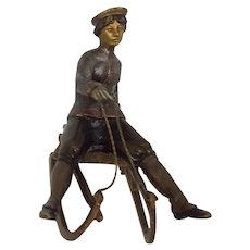 Antique Vienna Bronze Lady on Sled