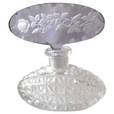 Vintage Czech Amethyst Rose Intaglio Stopper Perfume Bottle Clear Crystal
