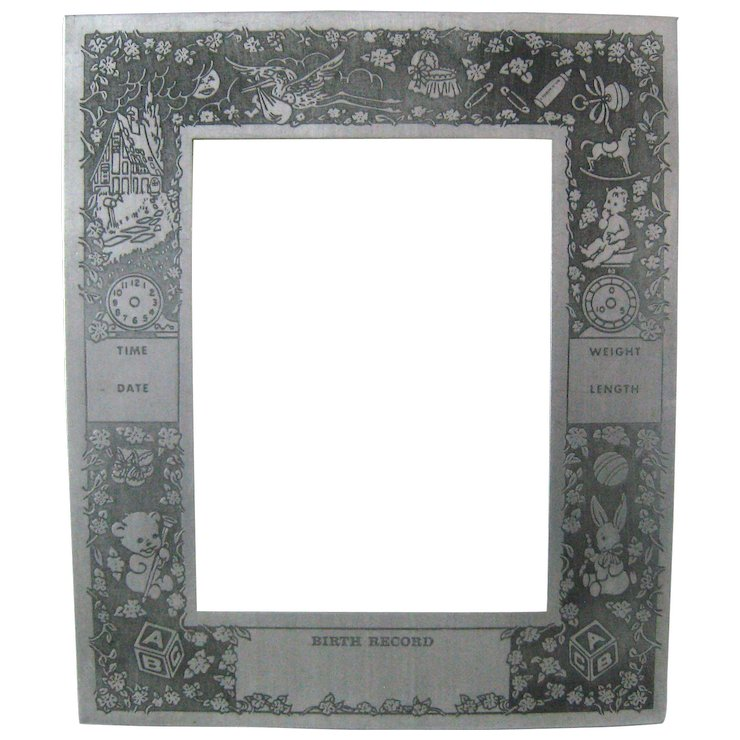 Art Deco Aluminum Baby Birth Record Photo Picture Frame Valerie