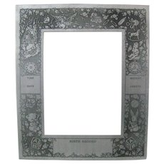 Art Deco Aluminum Baby Birth Record Photo Picture Frame