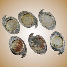 Set 6 Victorian Artist Palette Butter Pats – Silver Plate -Meriden Co.