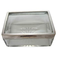 Large Antique Crystal Box – Silver Plate - Austria