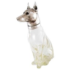 Circa 1900 Austrian Figural Decanter – German Shepherd Dog – Silver Plate & Crystal