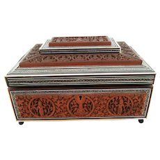 Large Sandalwood Anglo Indian Box – Inlaid Sadeli – Sewing Jewelry Box