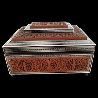 Large Sandalwood Anglo Indian Box – Inlaid Sadeli – Sewing Jewelry Box