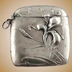 Small 800 Silver Art Nouveau Jugendstil Flower Match Safe Vesta